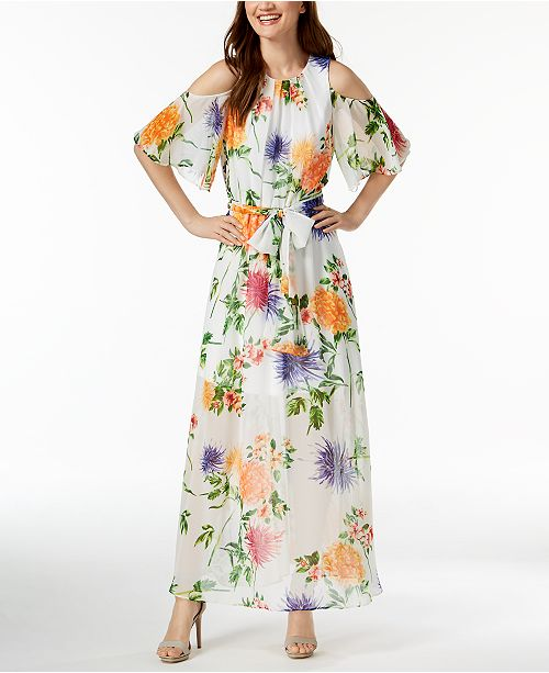 Calvin Klein Floral Print Chiffon Maxi Dress Amp Reviews