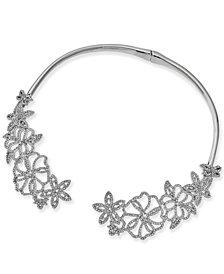 "I.N.C. Woman Silver-Tone Pavé Flower 5-4/5"" Collar Necklace, Created for Macy's"