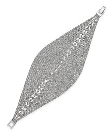I.N.C. Woman Silver-Tone Crystal Mesh Foldover Bracelet, Only at Macy's