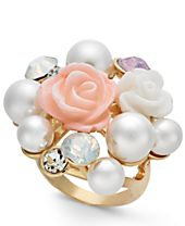 I.N.C. Gold-Tone Imitation Pearl & Stone Cluster Statement Ring, Created for Macy's