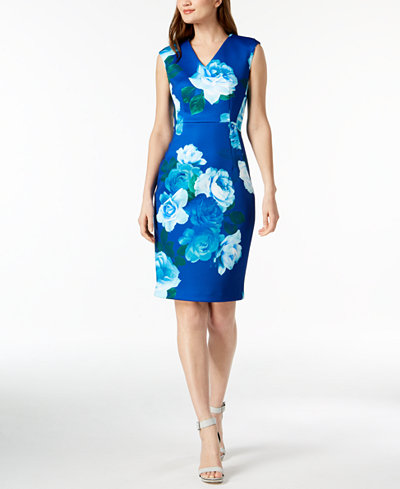 Calvin Klein Floral-Print Scuba Crepe Dress, Regular & Petite