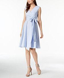 Calvin Klein Petite Cotton Striped Wrap Dress