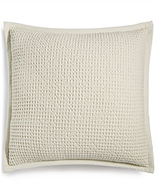 "Lacourte Natural 22"" Square Textured Waffle-Weave Decorative Pillow, Created for Macy's"