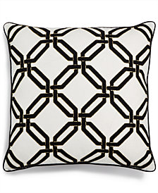"LAST ACT! Lacourte Geo 20"" Square Chainstitch-Embroidered Decorative Pillow, Created for Macy's"