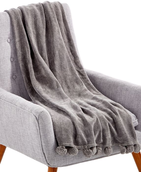 "LAST ACT! Lacourte Devon Gray 50"" x 60"" Chenille Throw, Gray, Size: 50x60"