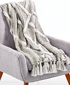 "LAST ACT! Lacourte Riya Cotton Gray 50"" x 60"" Tufted-Chenille Throw, Created for Macy's"