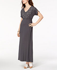 Style & Co Petite Embroidered Split-Sleeve Maxi Dress, Created for Macy's
