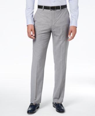 Men's Classic-Fit Stretch Gray Stripe Suit Pants