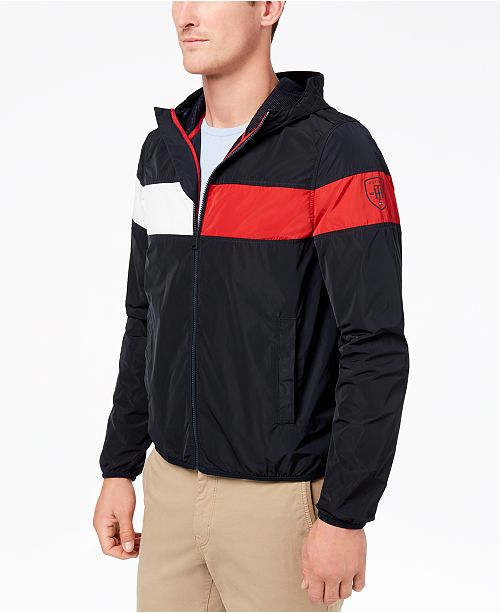 6f882bdb Tommy Hilfiger Men's Erwin Colorblocked Hooded Windbreaker, Created for  Macy's