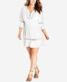 City Chic Trendy Plus Size Gauze Peasant Dress
