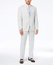 CLOSEOUT! Sean John Men's Classic-Fit Stretch Gray Stripe Seersucker Suit Separates