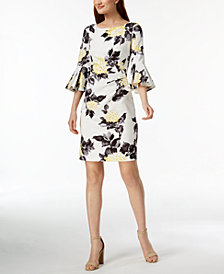 Jessica Howard Petite Floral-Print Bell-Sleeve Dress