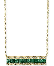 "Brasilica by EFFY® Emerald (1 ct. t.w.) & Diamond (1/8 ct. t.w.) Bar 18"" Pendant Necklace in 14k Gold"