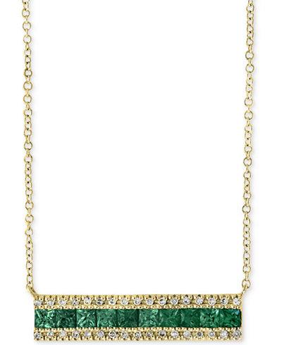 Brasilica by EFFY® Emerald (1 ct. t.w.) & Diamond (1/8 ct. t.w.) Bar 18