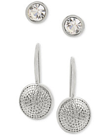Hint of Gold 2-Pc. Set Crystal Stud and Textured Drop Earrings in Sterling Silver