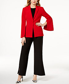 I.N.C. Vented Bell-Sleeve Blazer, Twist-Front Top & Vented Wide-Leg Pants, Created for Macy's