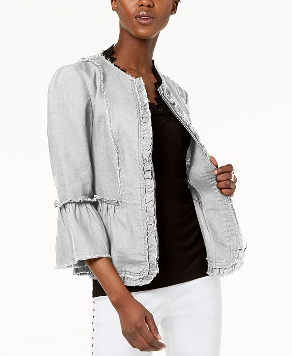 INC International Concepts I.N.C. Ruffled Linen Frayed-Trim Jacket, Created for Macy's