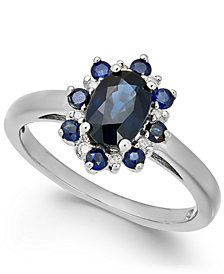 Sapphire (1-1/3 ct. t.w.) & Diamond Accent Ring in 14k White Gold