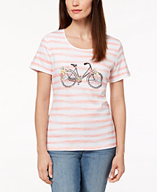 Karen Scott Petite Embellished Striped Graphic-Print Top, Created for Macy's