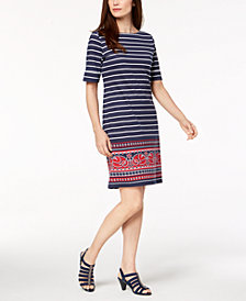 Karen Scott Striped Border-Print T-Shirt Dress, Created for Macy's