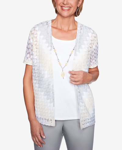 Alfred Dunner Charleston Layered-Look Necklace Top