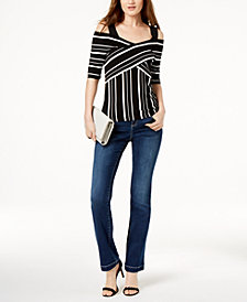 I.N.C. Crisscross Striped Sweater & 5-Pocket Bootcut Jeans, Created for Macy's