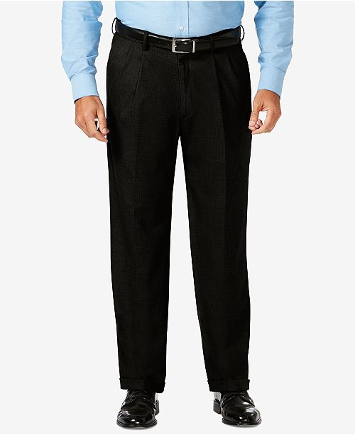 Haggar J.M. Big & Tall Classic Fit Stretch Sharkskin Pleated Dress Pants