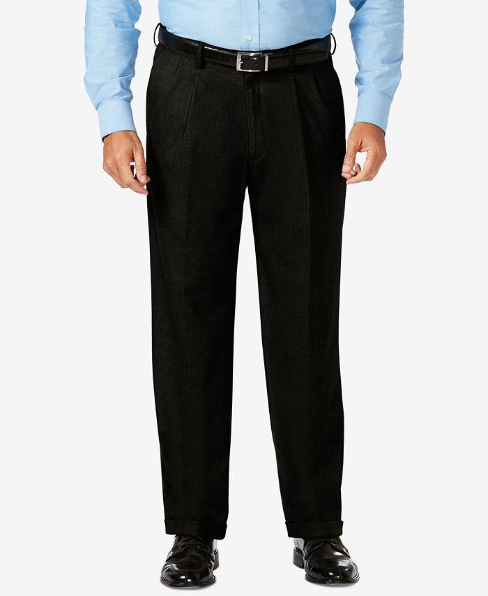 Haggar - J.M.  Big & Tall Classic Fit Stretch Sharkskin Pleated Dress Pants