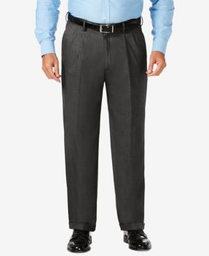 Big & Tall Classic Fit Stretch Sharkskin Pleated Dress Pants