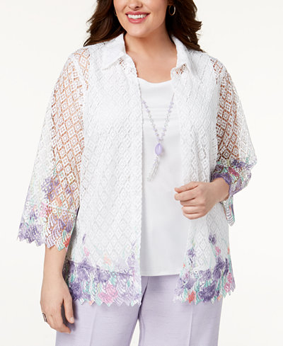 Alfred Dunner Plus Size Roman Holiday Printed-Lace Layered-Look Top