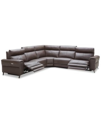 """CLOSEOUT! Raymere 122"""" 5-Pc. Leather Sectional Sofa With 2 Power Recliners, Power Headrests And USB Power Outlet, Created for Macy's"""