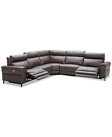 "CLOSEOUT! Raymere 122"" 5-Pc. Leather Sectional Sofa With 2 Power Recliners, Power Headrests And USB Power Outlet, Created for Macy's"