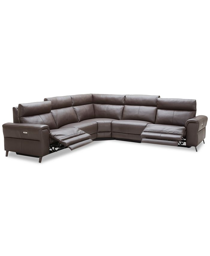 """Furniture - Raymere 122"""" 5-Pc. Leather Sectional Sofa With 2 Power Recliners, Power Headrests And USB Power Outlet, Created for Macy's"""