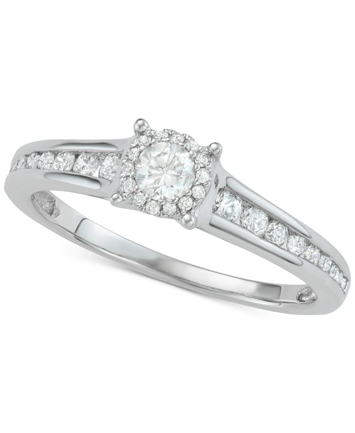 Macy's - Diamond Halo Engagement Ring (1/2 ct. t.w.) in 14k White Gold