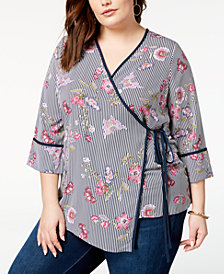 ING Trendy Plus Size Printed Wrap Top