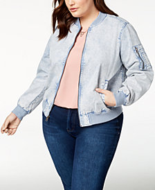 Levi's® Plus Size Acid-Wash Bomber Jacket