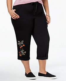 Style & Co Plus Size Bloomfields Embroidered Capri Pants, Created for Macy's