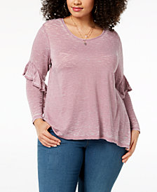 Style & Co Plus Size Burnout Ruffled-Sleeve Top, Created for Macy's
