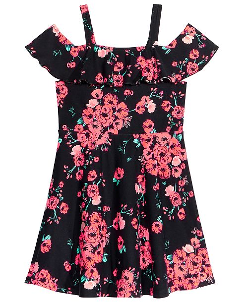 Epic Threads Floral-Print Cold Shoulder Dress, Little Girls, Created for Macy's