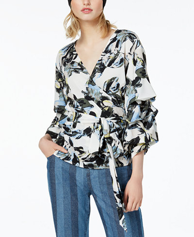 Bar III Printed Surplice Ruffled-Sleeve Top, Created for Macy's