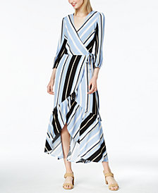 Bar III Striped Faux-Wrap Maxi Dress, Created for Macy's