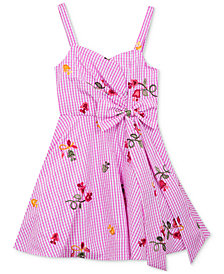 Rare Editions Gingham Embroidered Sundress, Big Girls
