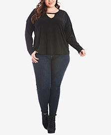 Eyeshadow Trendy Plus Size Keyhole Top