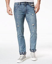 I.N.C. Men's Slim Straight Ripped Star-Cuff Jeans, Created for Macy's