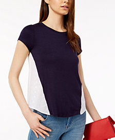 Maison Jules Crew-Neck Eyelet-Contrast T-Shirt, Created for Macy's