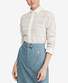 Polo Ralph Lauren Eyelet Cotton Poplin Shirt