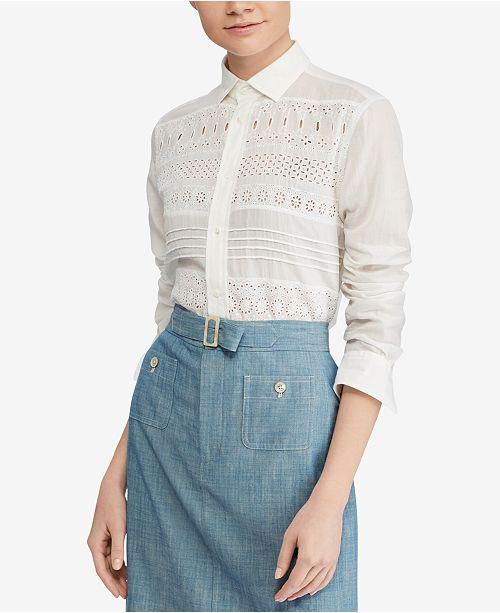 8b85018941e7 Polo Ralph Lauren Eyelet Cotton Poplin Shirt   Reviews - Tops ...