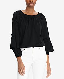 Lauren Ralph Lauren Ruffled Cuff Cotton Top