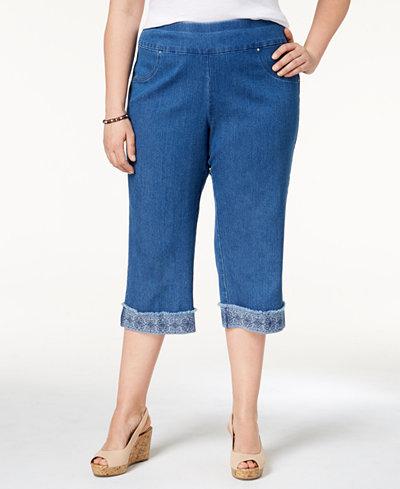 Alfred Dunner Plus Size Sun City Denim Embroidered-Cuff Capri Pants
