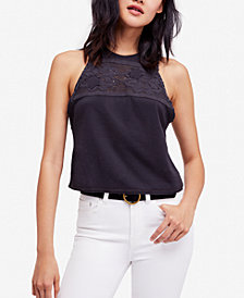 Free People Window Sleeveless Lace-Yoke Top